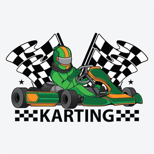 Logo De Conception De Course De Karting Vecteur Premium