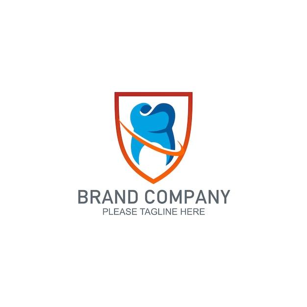 Logo de conception de protection dentaire Vecteur Premium