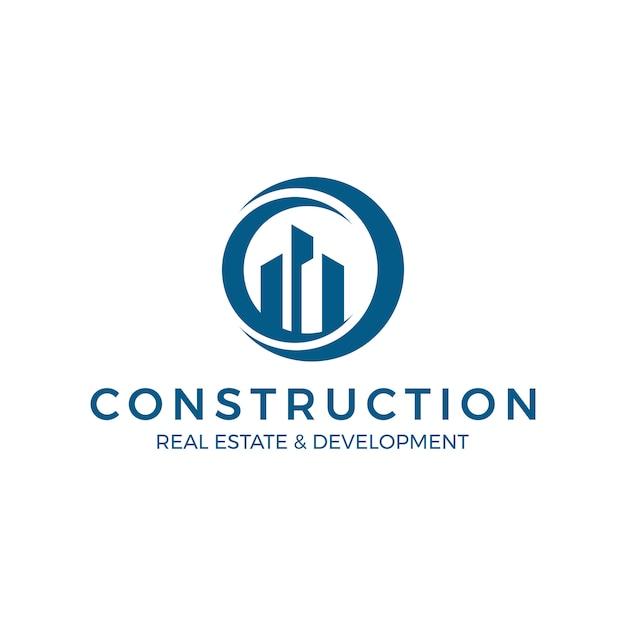 Logo De La Construction Immobilière Mondiale Vecteur Premium