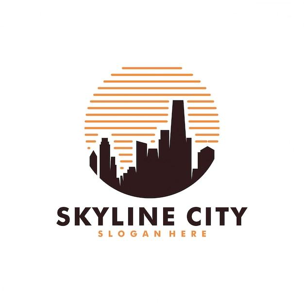 Logo de la construction de la ville Vecteur Premium