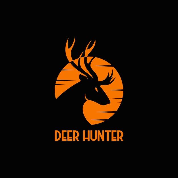 Logo coucher de soleil chasseur de cerf Vecteur Premium