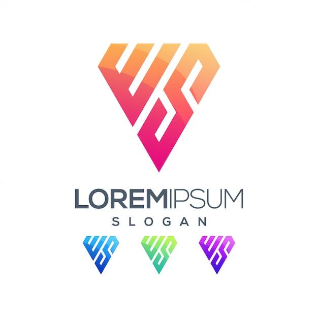 Logo couleur dégradé lettre inspiration ws Vecteur Premium