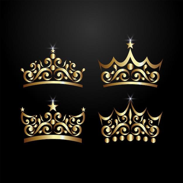 Logo de la couronne de luxe Vecteur Premium