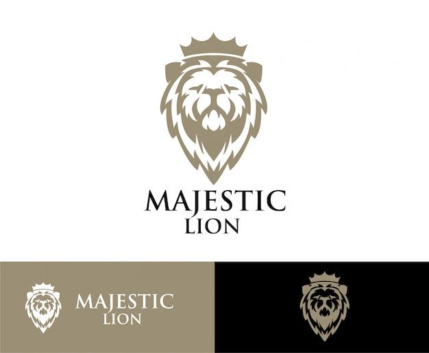 Logo couronne de tête de lion Vecteur Premium