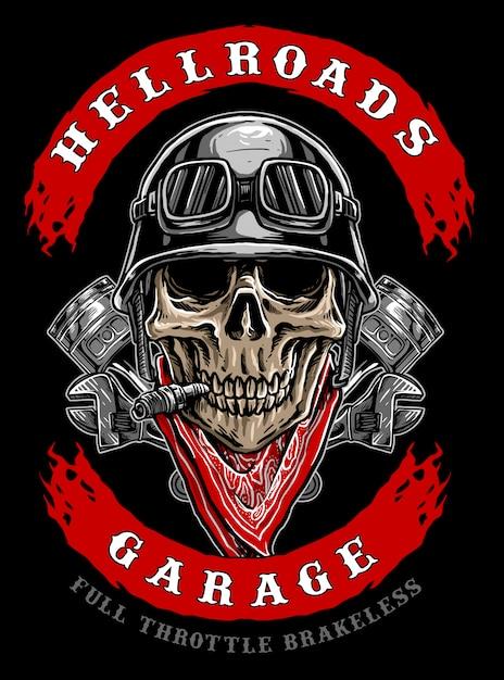 Logo de crâne de motard Vecteur Premium