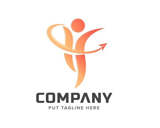 Logo créatif des gens Vecteur Premium