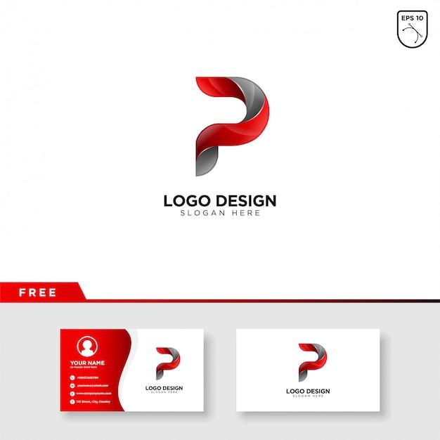 Logo Créatif De La Lettre P Avec Dégradé De Couleur Vecteur Premium