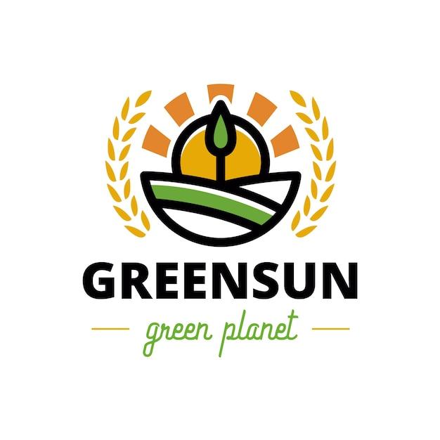 Logo De Crête De Soleil Arbre Vert Nature Vecteur Premium