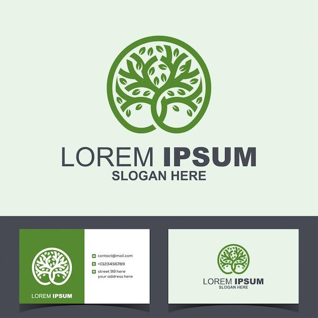 Logo de croissance verte en cercle Vecteur Premium