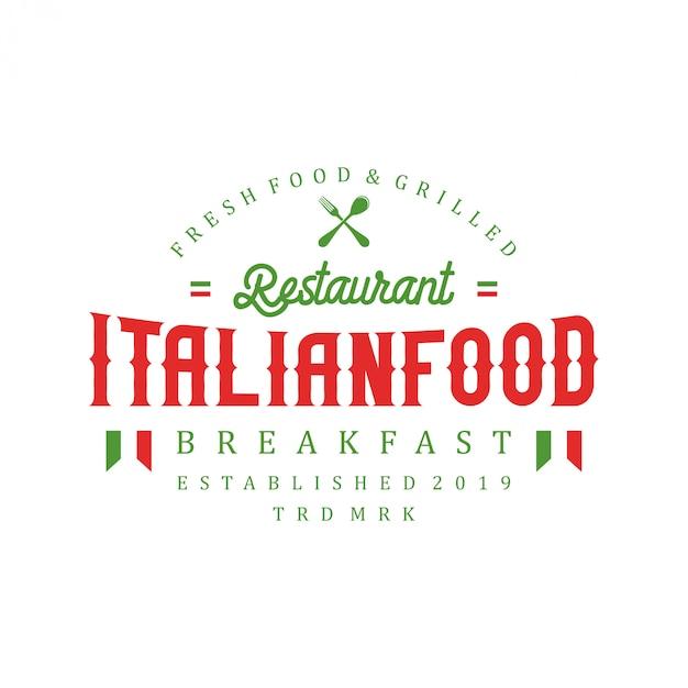 Logo de la cuisine italienne pour le restaurant Vecteur Premium