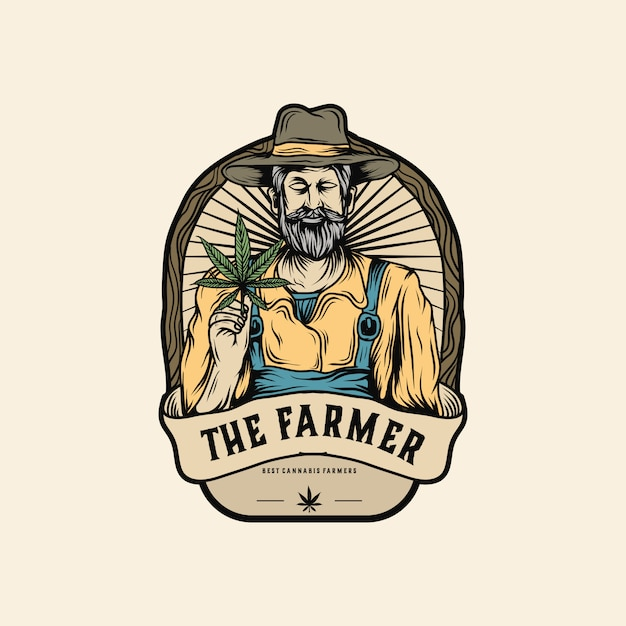 Logo de cultivateur de marijuana Vecteur Premium
