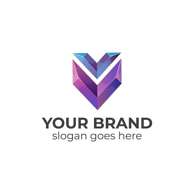 Logo Dégradé De La Lettre V Et Du Bouclier Vecteur Premium