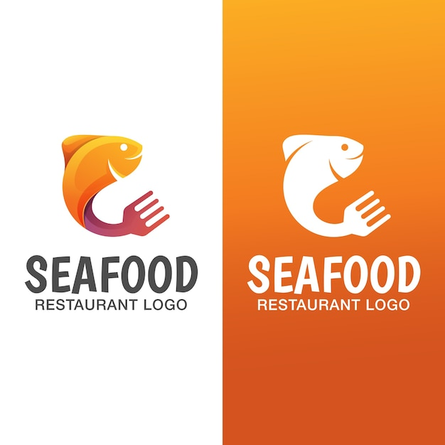 Logo Dégradé De Poisson De Mer Avec Version Plate. Modèle De Logo De Restaurant De Fruits De Mer Vecteur Premium