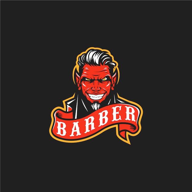 Logo démon barbier Vecteur Premium
