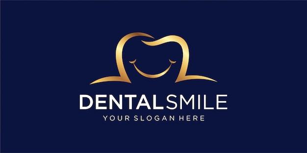 Logo Dentaire Avec Le Concept D'un Sourire Vecteur Premium