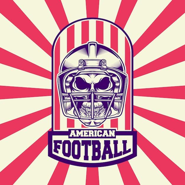 Logo Design Football Américain Avec Style Rétro Vecteur Premium