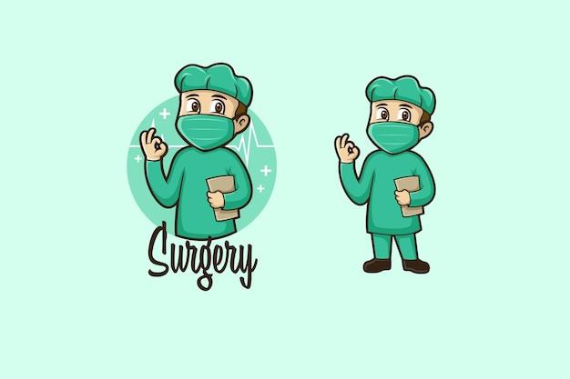 Logo De Dessin Animé De Chirurgie Vecteur Premium