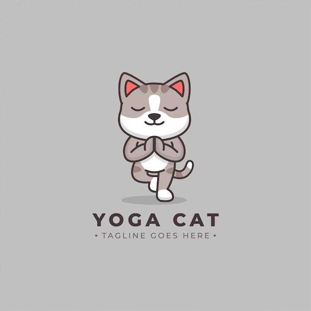 Logo De Dessin Animé Yoga Chat Vecteur Premium