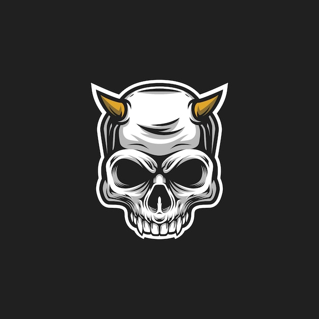 Logo diable crâne Vecteur Premium