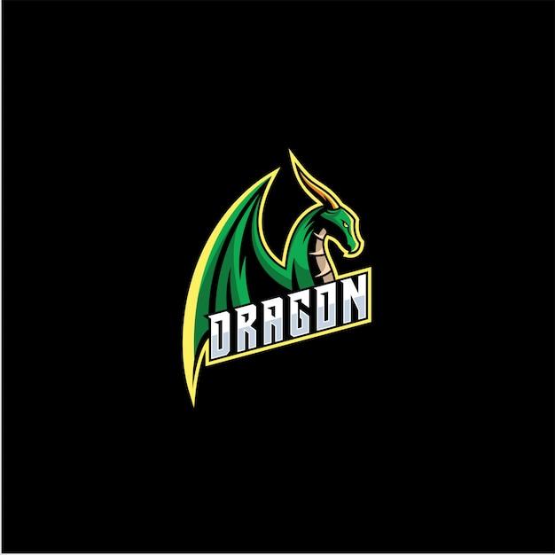 Logo Dragon E Sport. Vecteur Premium