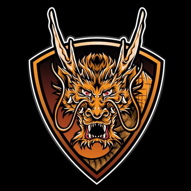 Logo dragon de feu Vecteur Premium