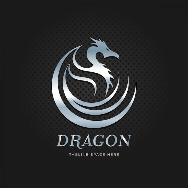 Logo dragon en métal argenté Vecteur Premium