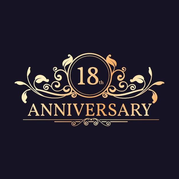 Logo Du 18e Anniversaire Doré De Luxe Vecteur Premium