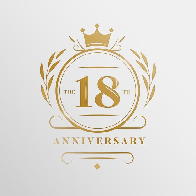 Logo Du 18e Anniversaire De Luxe Vecteur Premium