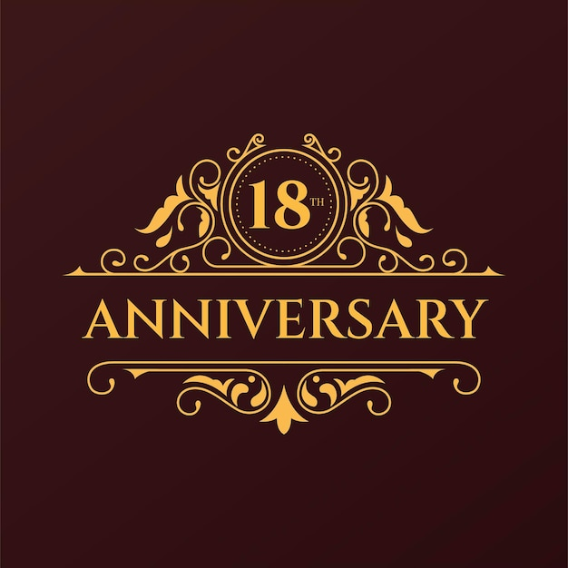 Logo Du 18e Anniversaire De Luxe Vecteur gratuit