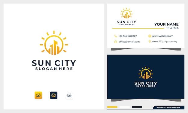 Logo Du Bâtiment Avec Concept De Soleil Et Modèle De Conception De Carte De Visite Vecteur Premium