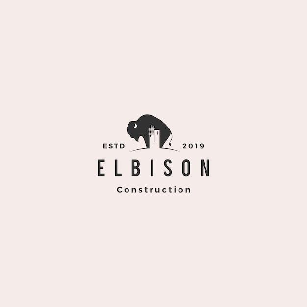 Logo Du Bâtiment De Construction De Bison Vecteur Premium