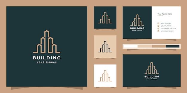 Logo Du Bâtiment Avec Style D'art En Ligne. Résumé Du Bâtiment De La Ville Pour L'inspiration De La Conception De Logo Vecteur Premium