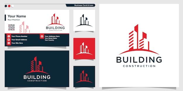 Logo Du Bâtiment Avec Un Style Moderne Cool Et Un Modèle De Conception De Carte De Visite Vecteur Premium