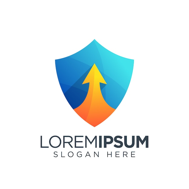 Logo du bouclier télécharger l'icône de la flèche Vecteur Premium