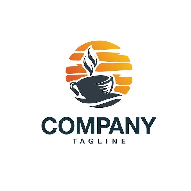 Logo du café du coucher du soleil Vecteur Premium