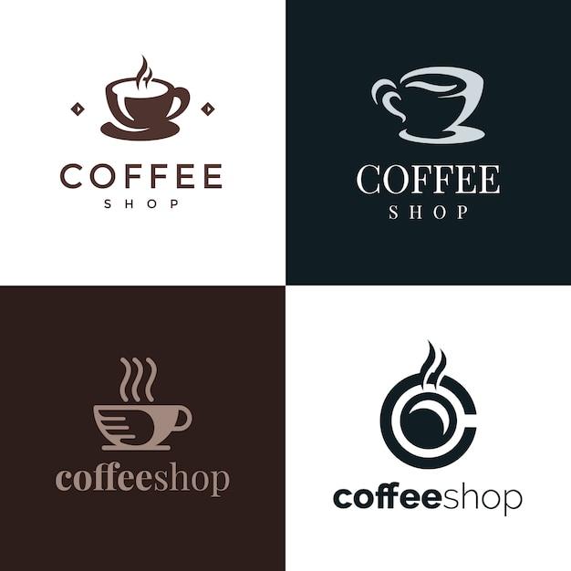 Logo du café élégant haut de gamme Vecteur Premium