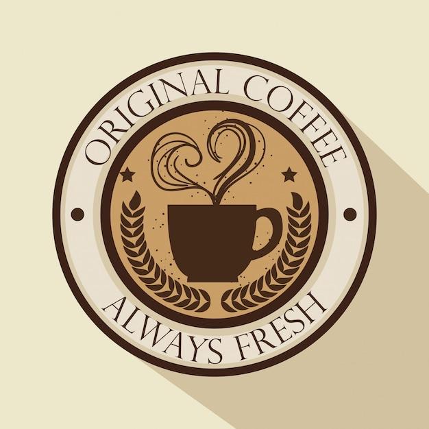 Logo du café d'origine Vecteur gratuit