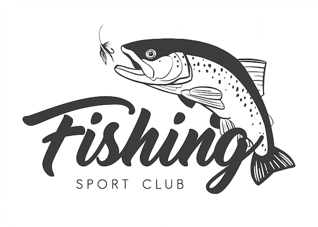 Logo du club de pêche sportive Vecteur Premium
