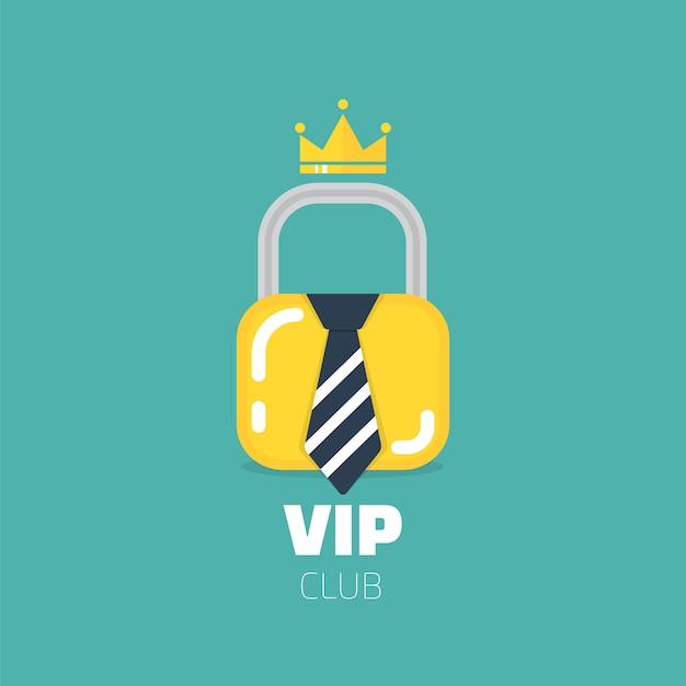 Logo du club vip dans un style plat. membres du club vip seulement Vecteur Premium