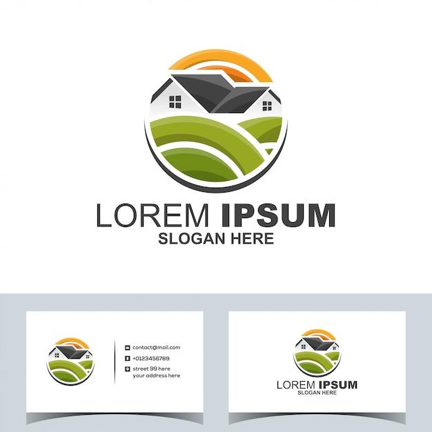 Logo du jardin immobilier immobilier moderne Vecteur Premium
