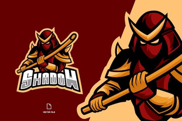 Logo Du Jeu De Mascotte Ninja Samurai Pour L'illustration De L'équipe Esport Vecteur Premium
