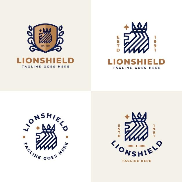 Logo du lion royal avec collection de couronnes Vecteur Premium