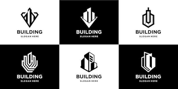 Logo Du Lot Immobilier Du Bâtiment Vecteur Premium