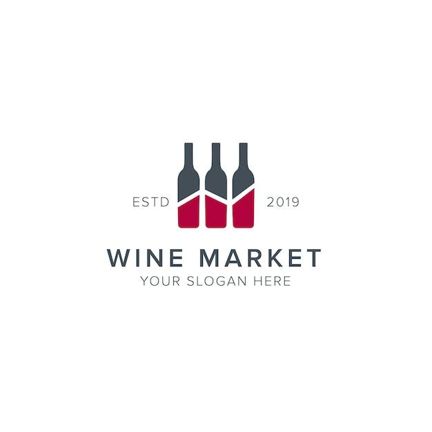 Logo du marché du vin Vecteur Premium