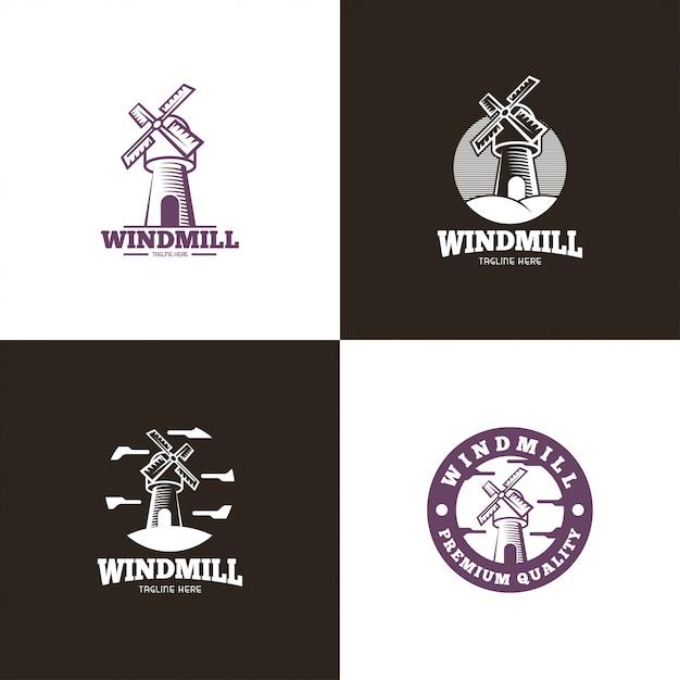 Logo du moulin à vent Vecteur Premium