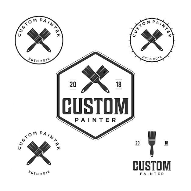 Logo du peintre vintage Vecteur Premium