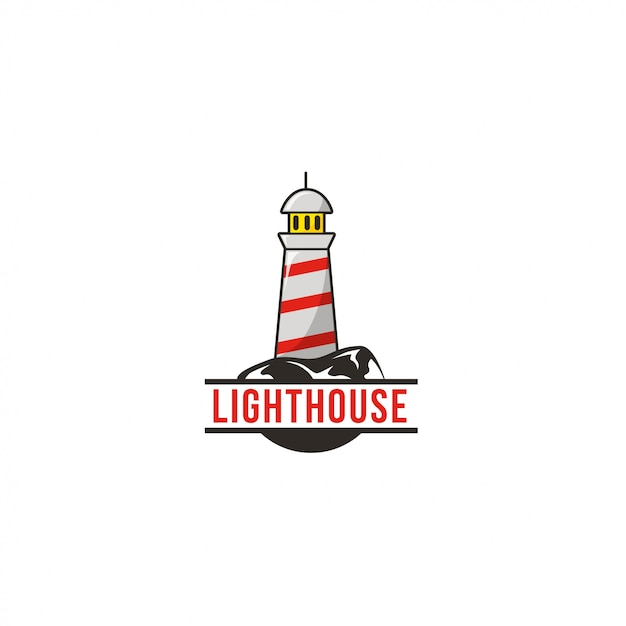Logo du phare Vecteur Premium