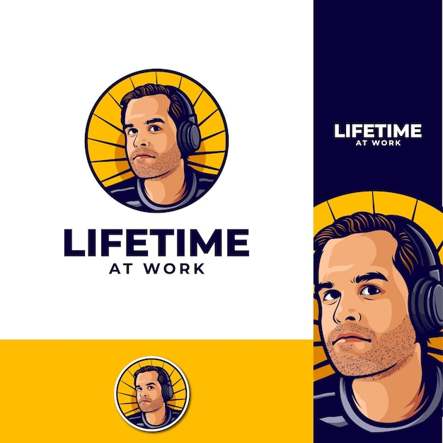 Logo Du Podcast Life Time At Work Vecteur Premium