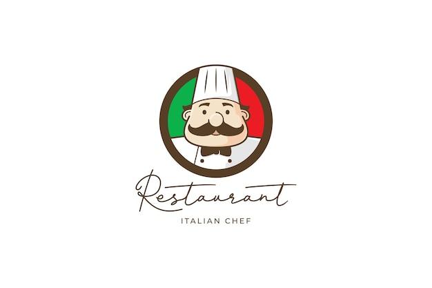 Logo Du Restaurant Avec Chef Et Drapeau Italien Vecteur Premium