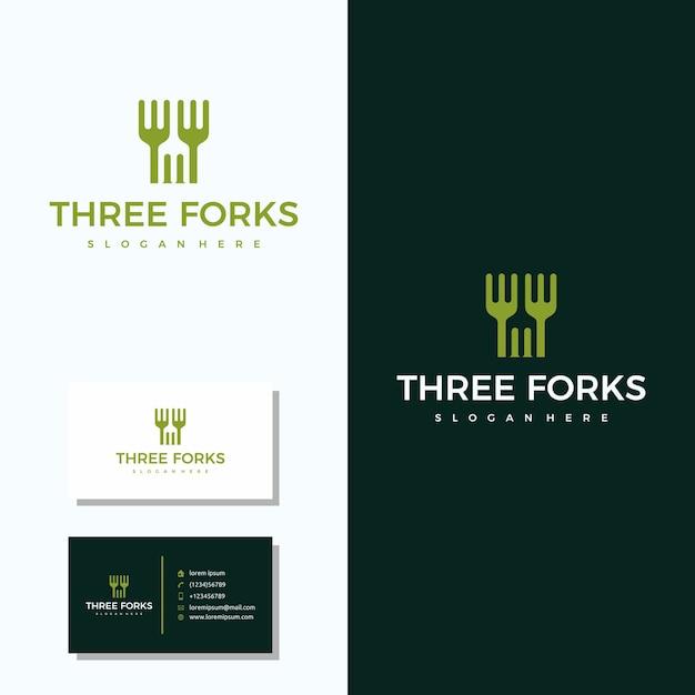 Logo du restaurant three fork avec création de logo de carte de visite Vecteur Premium